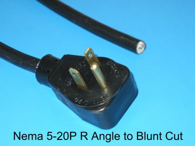 NEMA 5-20P Right Angle To Blunt Cut